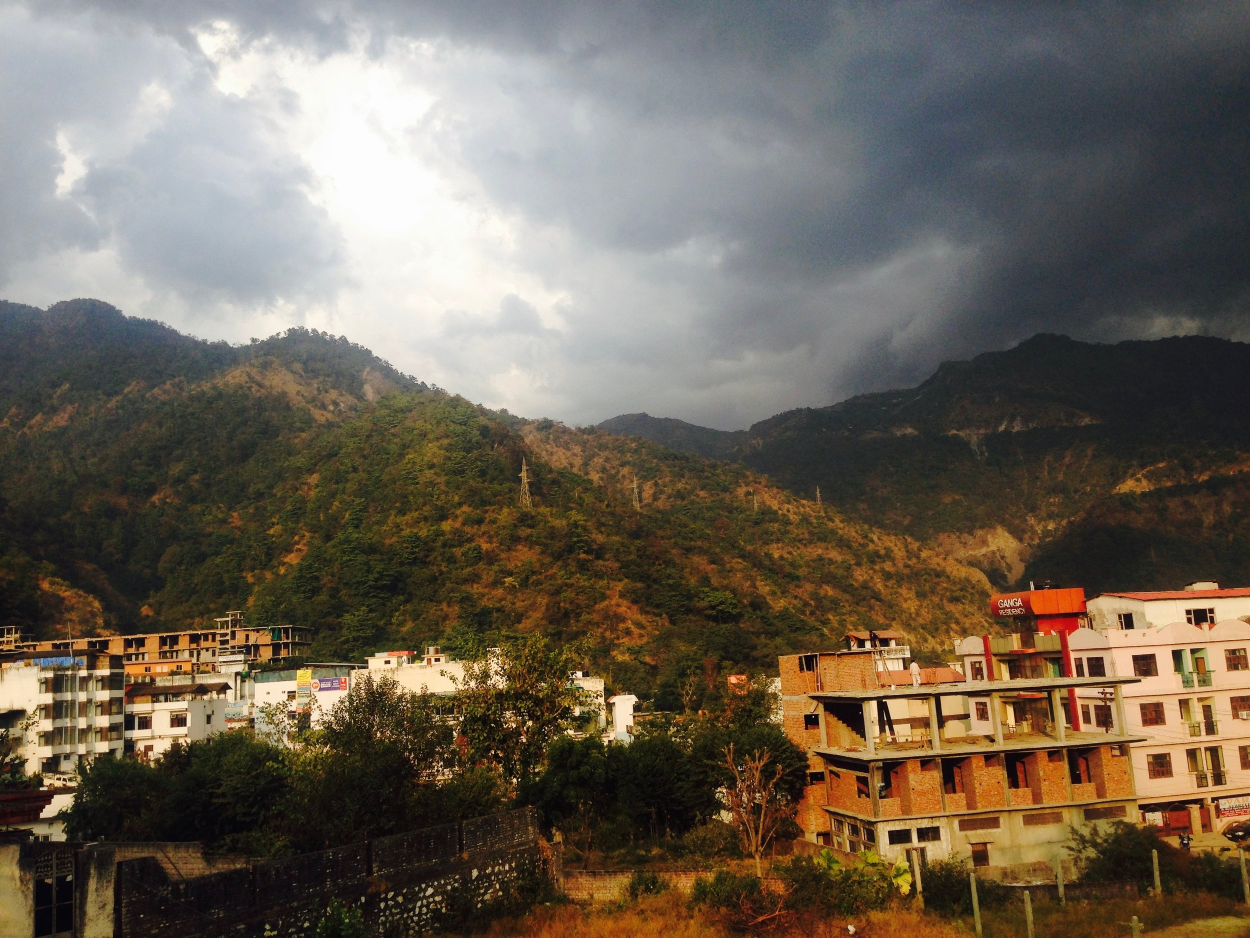 Ominous clouds forming over Rishikesh on Christmas Day,on the way back from getting Chinese takeout. Perfect timing.