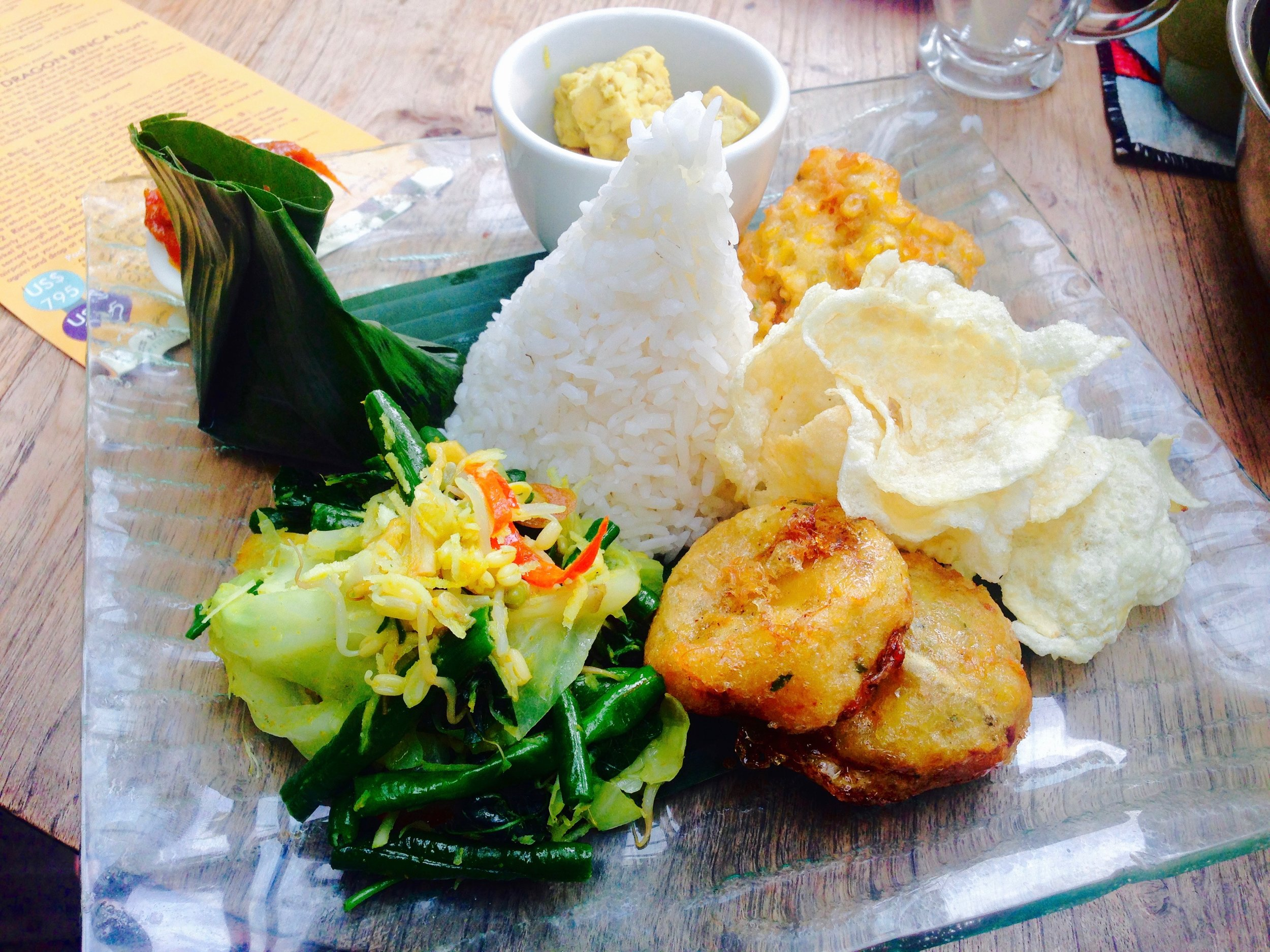 First Balinese meal after a long day of travel!Presentation is everything here.