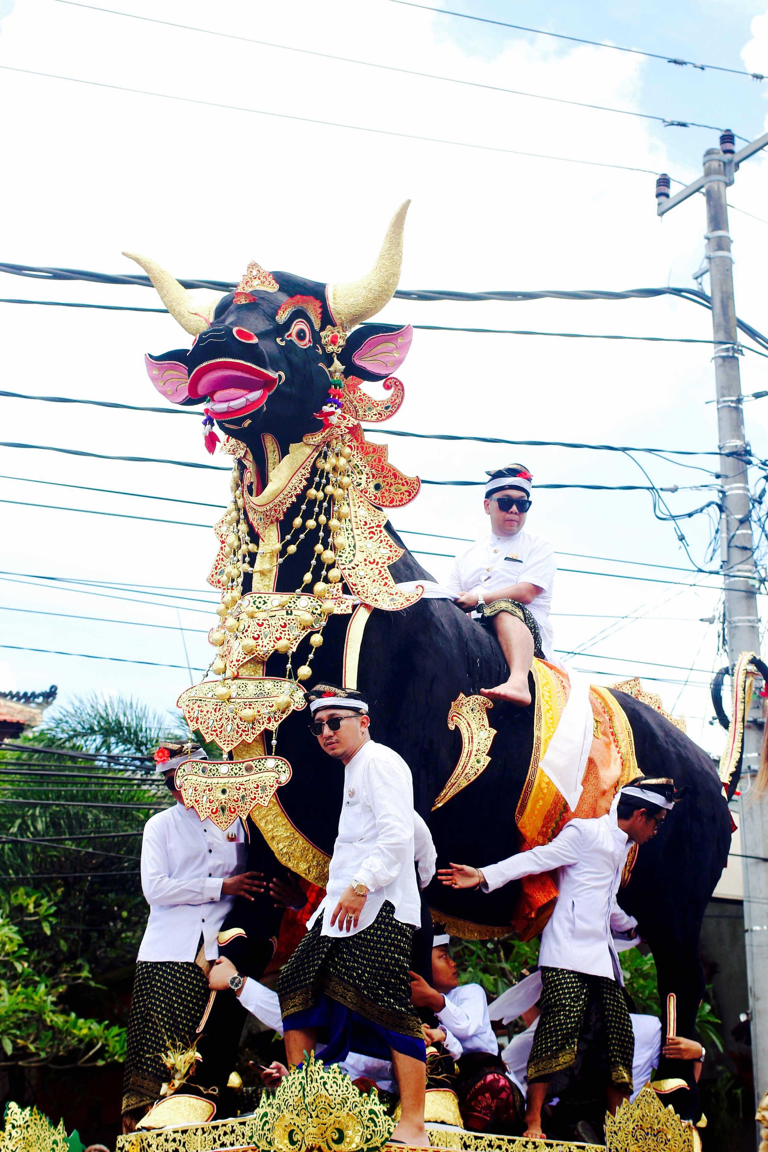 Not a proper mass cremation without Balinese men riding the black bull