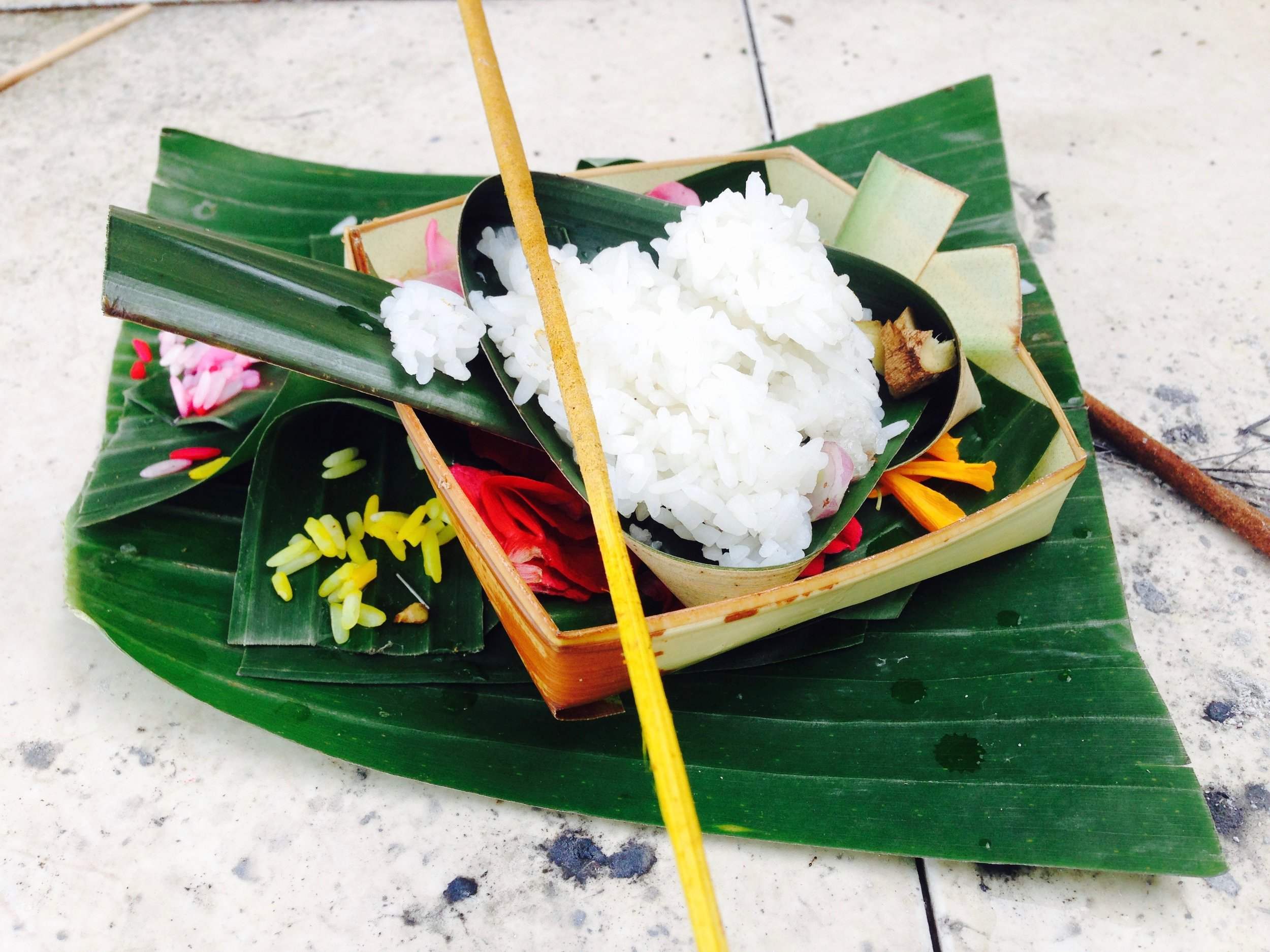 Fresh Balinese offering outside our cottage