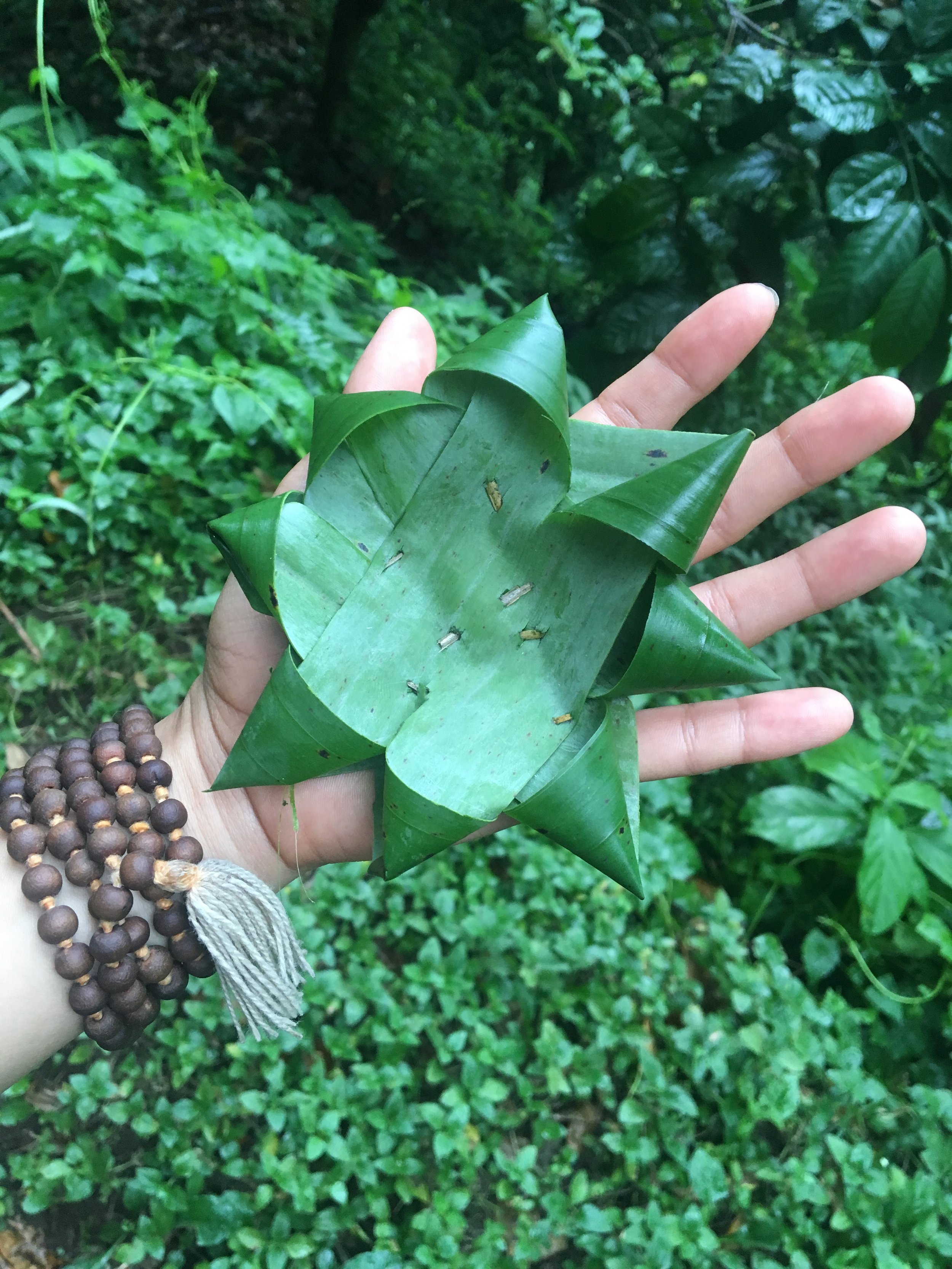 One of Bauhau's many gifts that day...beautiful banana leaf origami used to hold traditional Balinese offerings <3