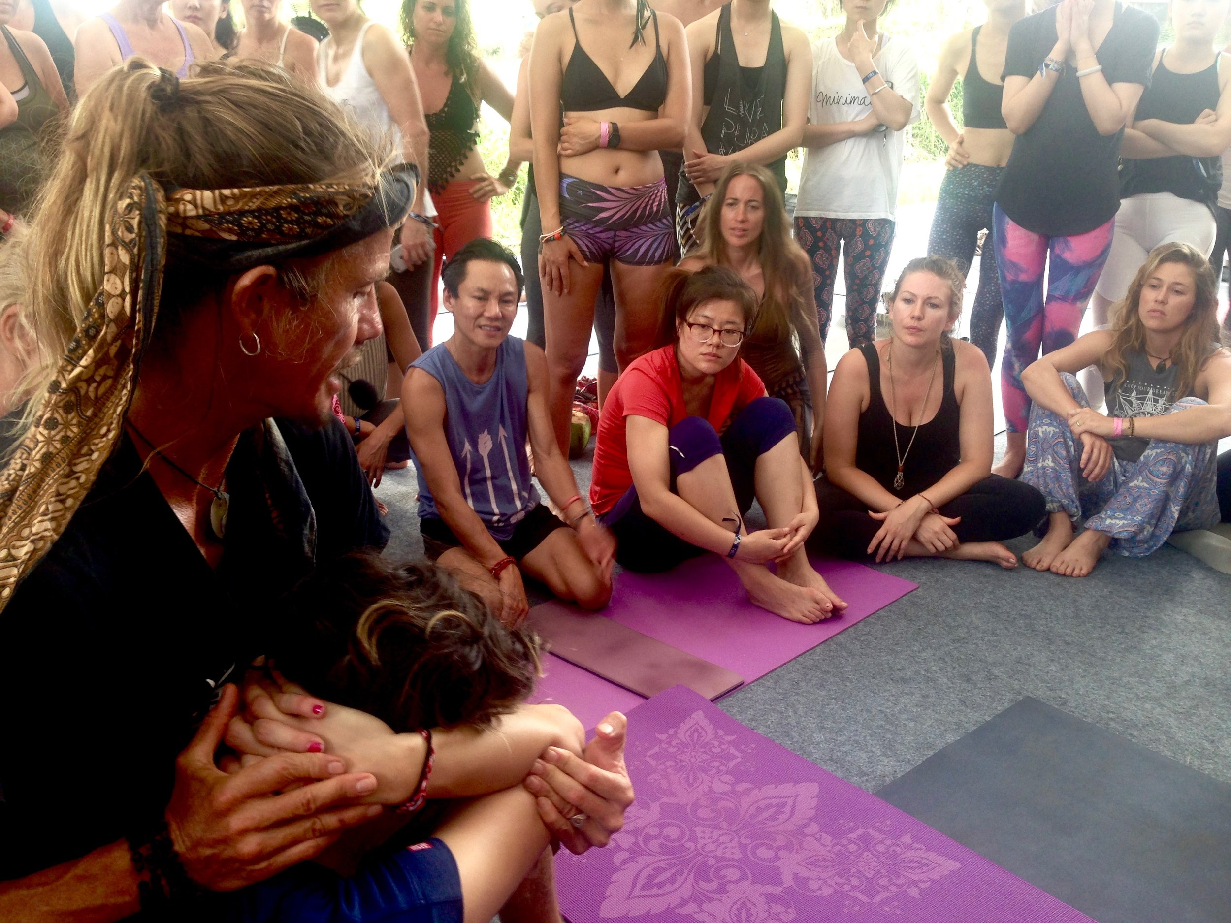 Sacred art of shiatsu workshop in the Spirit Corner Pavilion. Yes, if you're lucky, I can practice on you sometime.