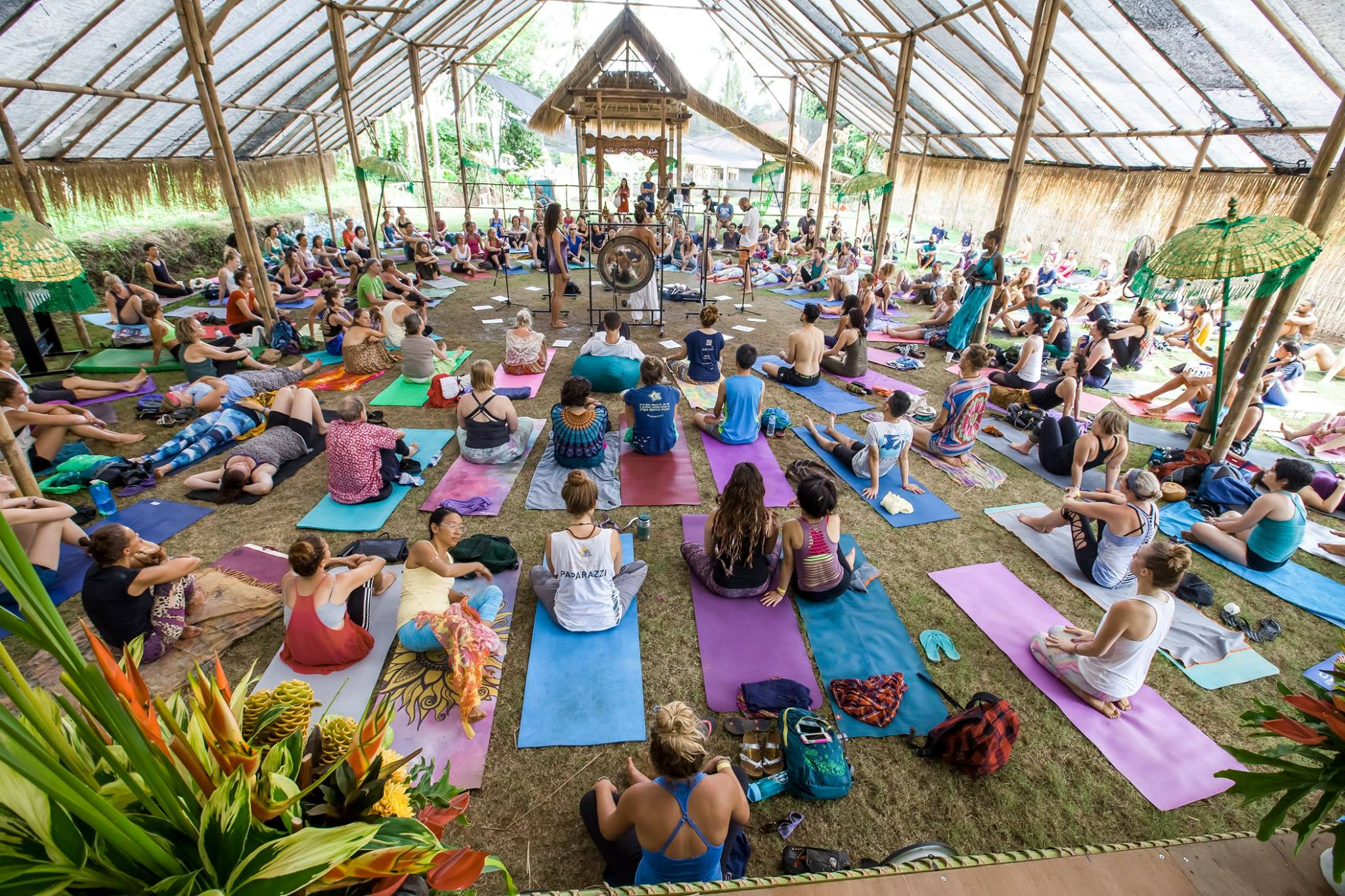 Gong bath meditation in The Jungle Pavilion / Photo credit: Ishine Photography