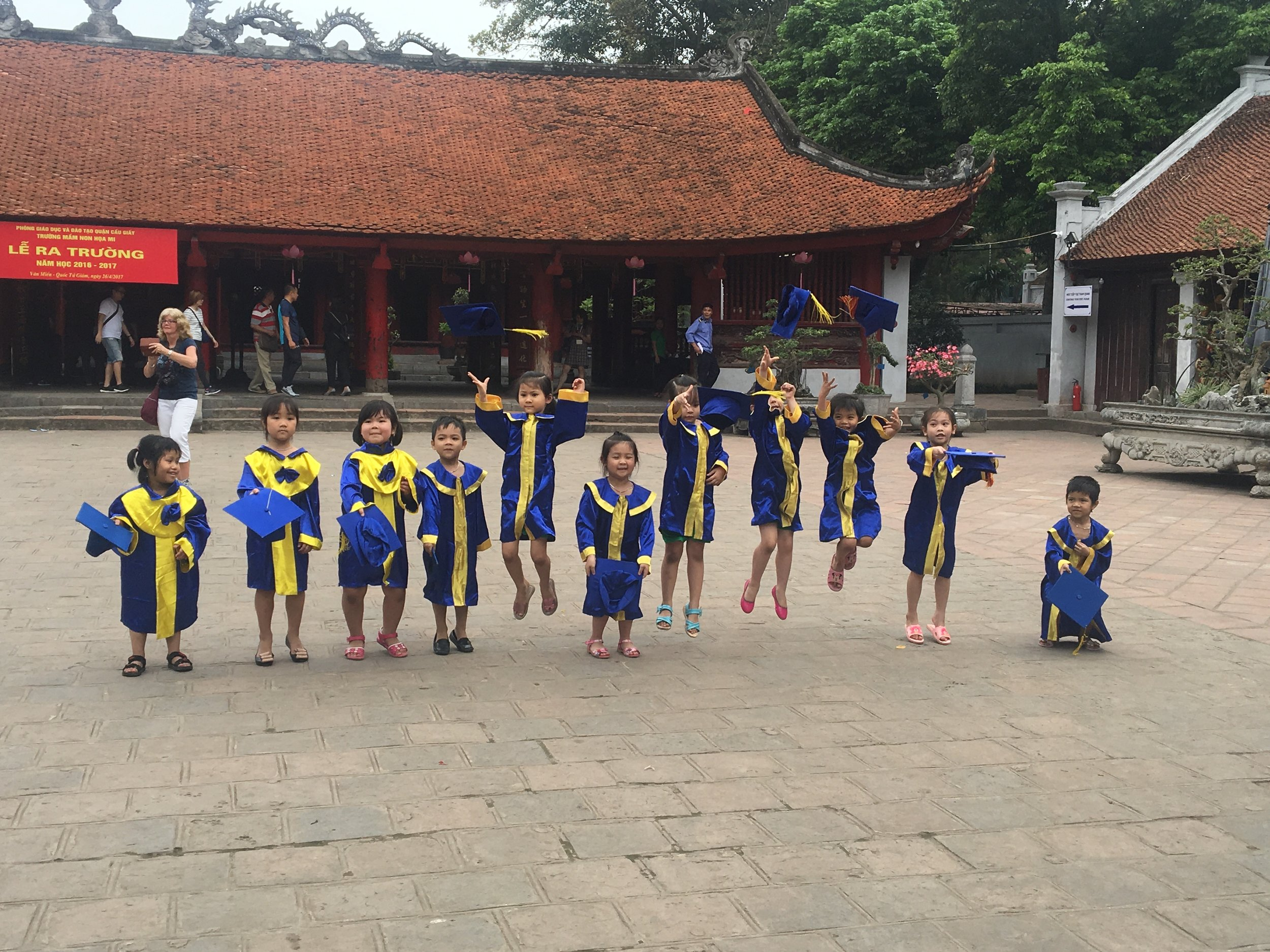 Lots of happiness at the Temple of Literature, Vietnam's oldest university in Hanoi