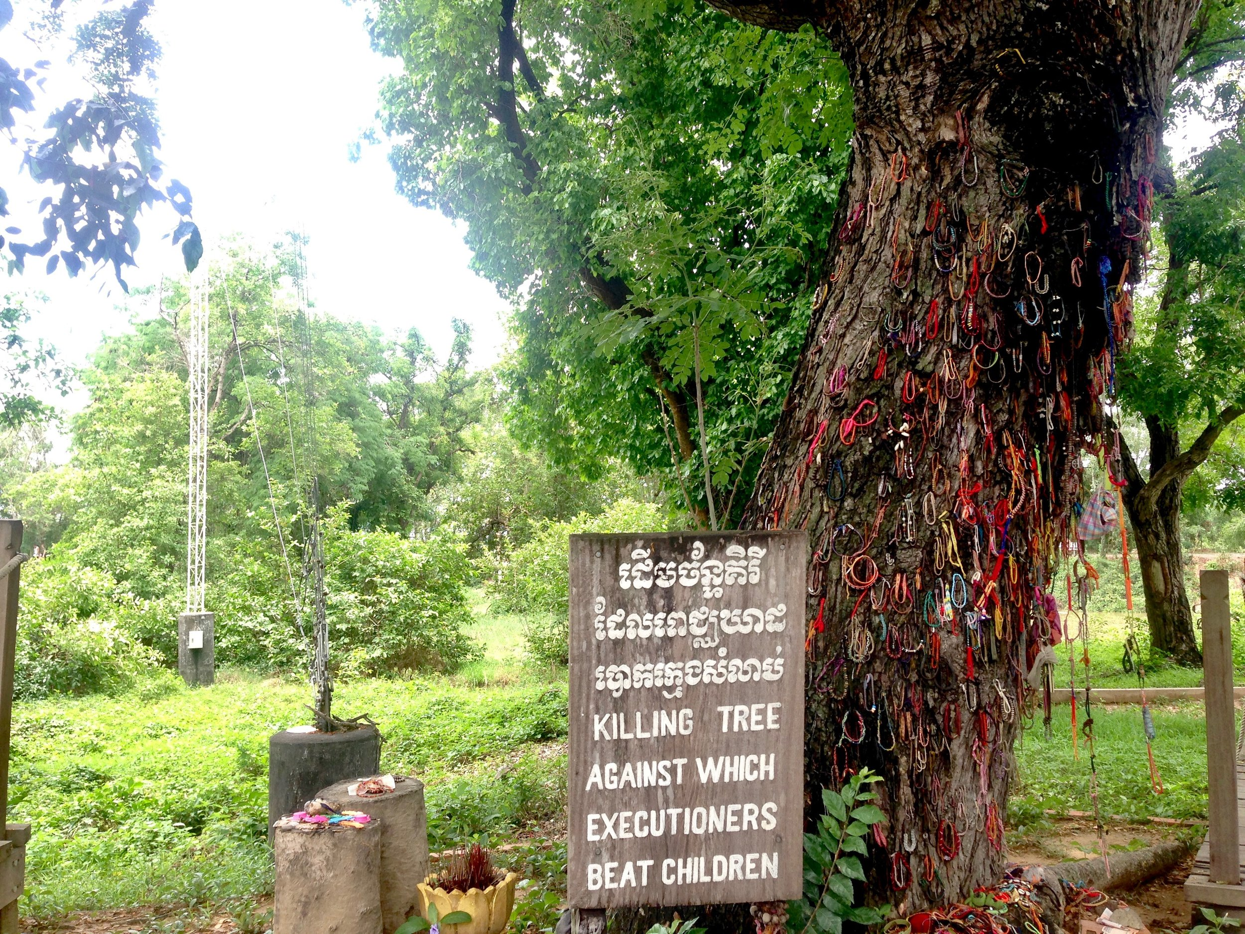 Blood stains remain on the tree for all to bear witness
