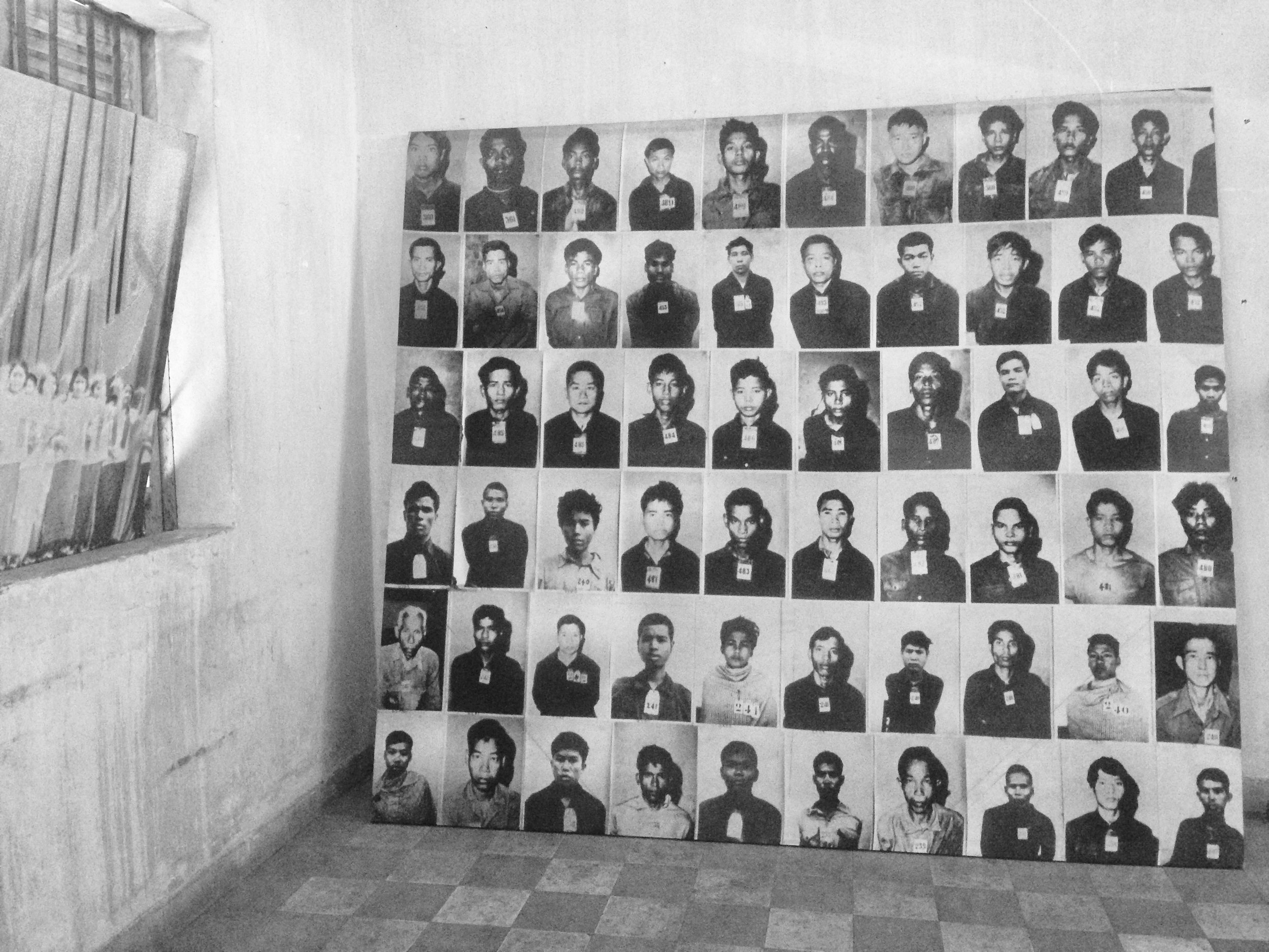 Photographs of men detained before they were shackled in mass detention rooms
