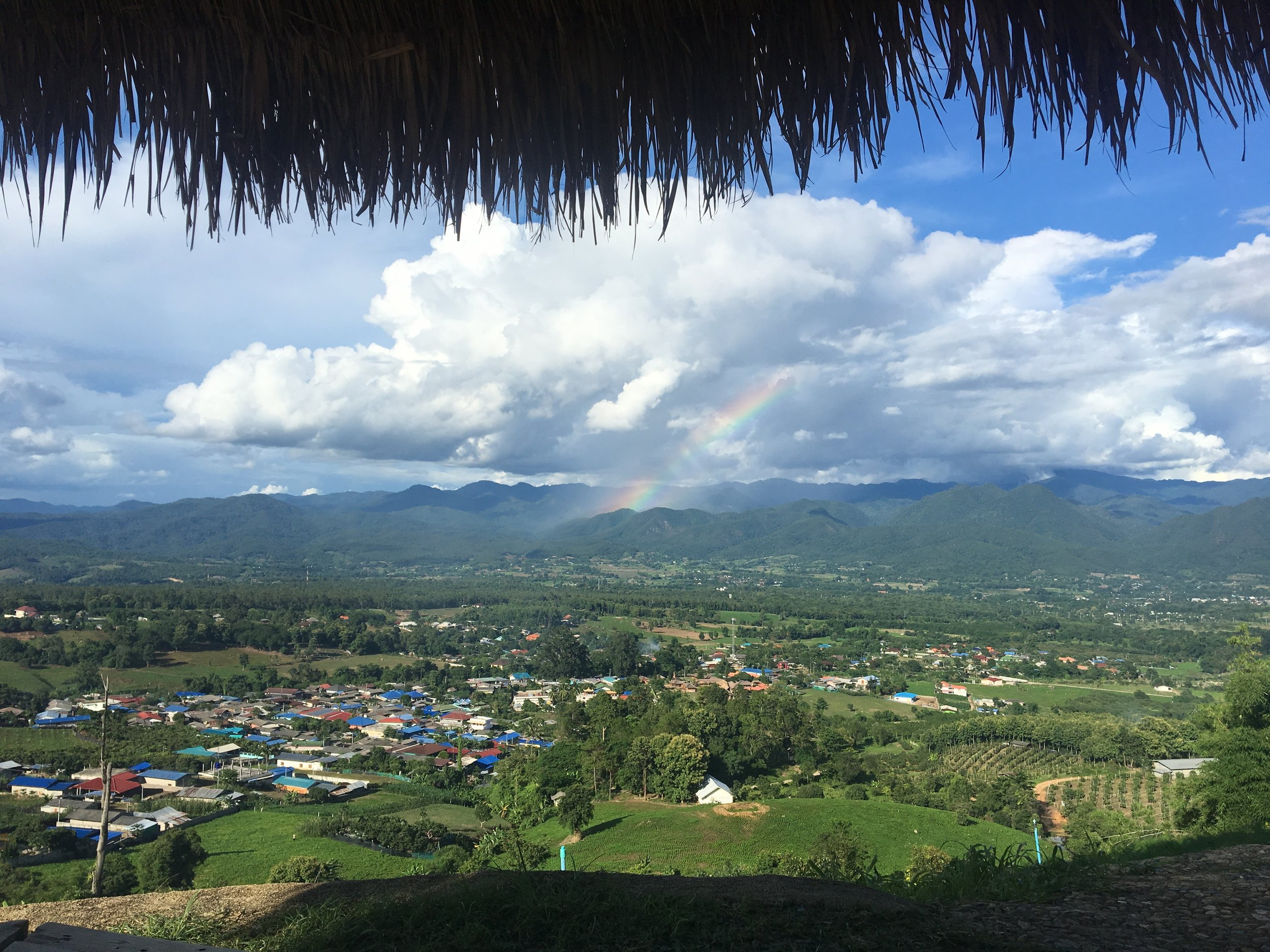 Viewpoint overlooking all of Pai + rainbow