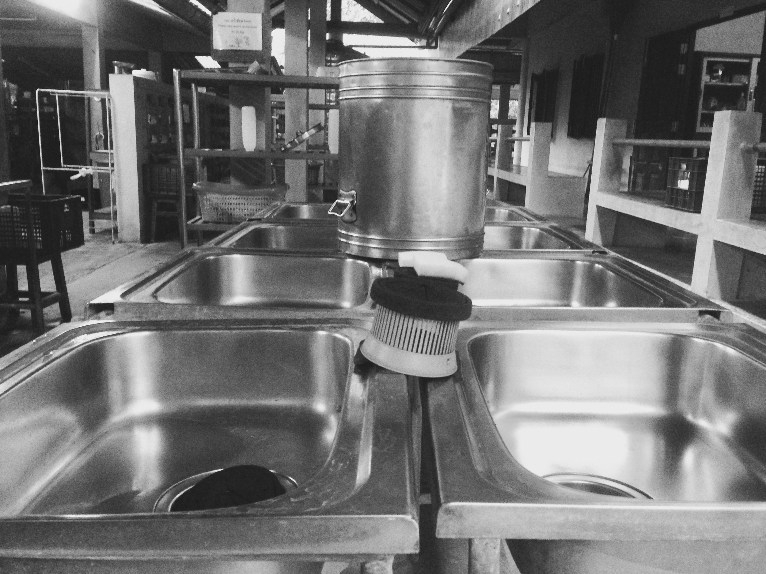 After meals, men and women enter their separate washing spaces where we do our individual dishes.