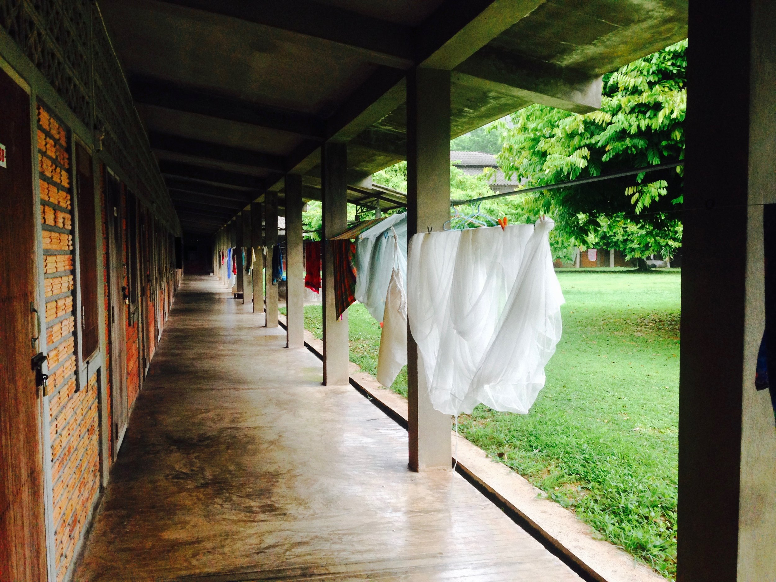Everything in the dorm is open air, and everyone had their own laundry line. Laundry wasn't just the activity of laundry -- at Suan Mokkh, everything is seen as meditation. So laundry = laundry meditation, naturally.