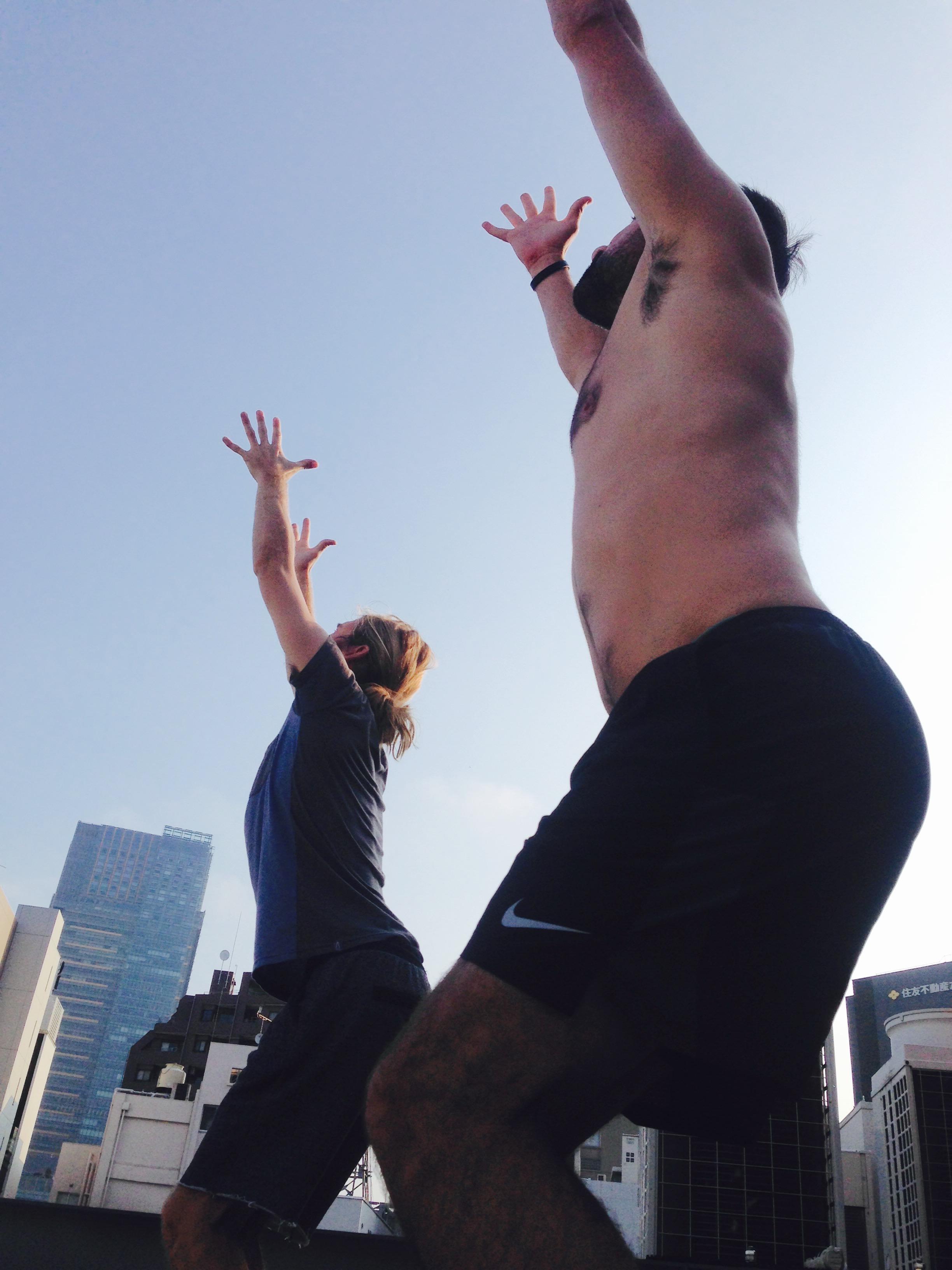 Donny leading a class of Donny's (aka Wylie leads a yoga class)