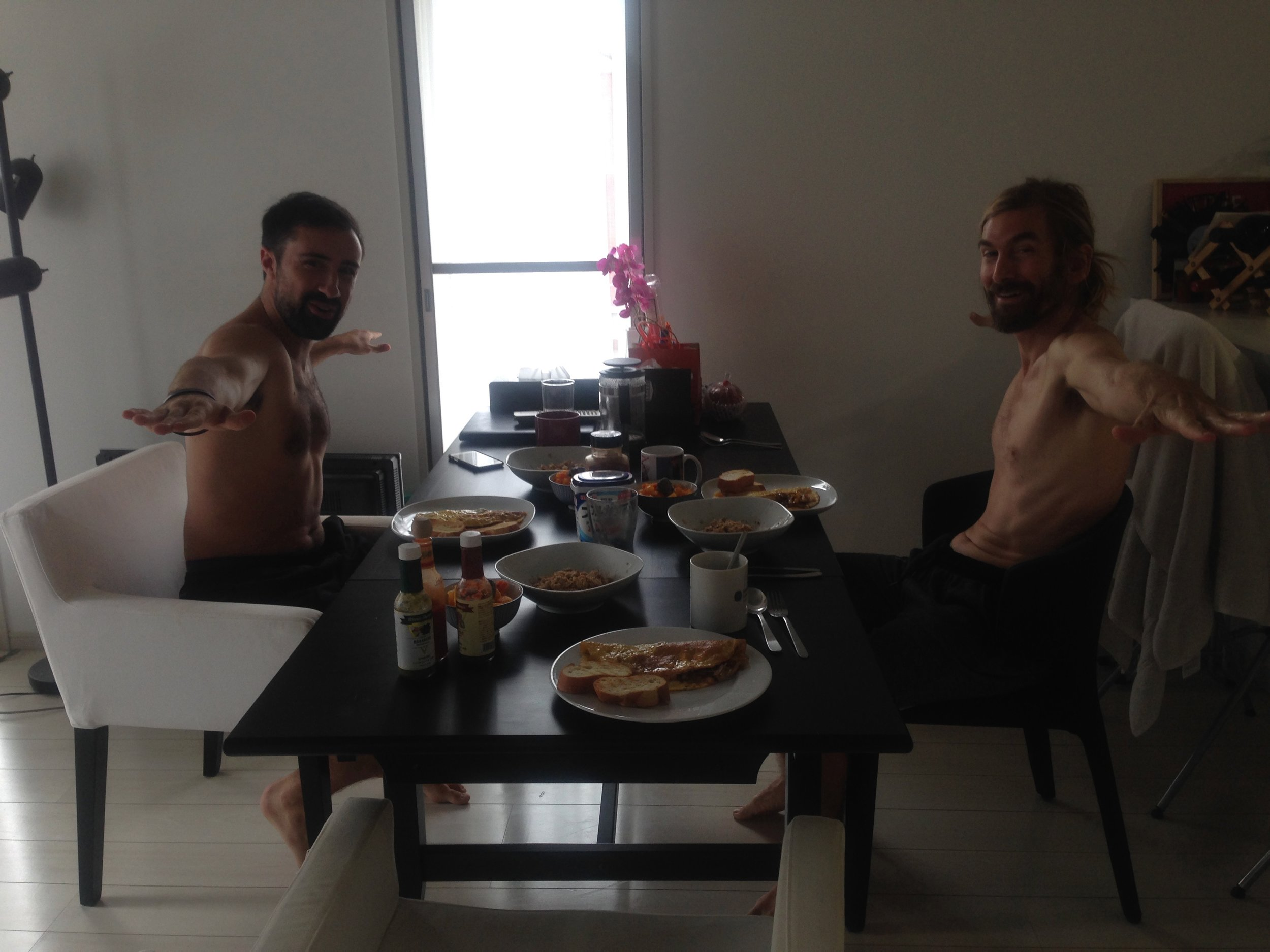 Two warriors at breakfast