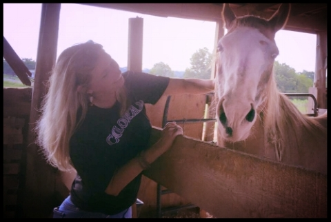 Cloud with Julie. Cloud is a mustang mare, adopted earlier in 2016,who seems to allow us humans to feel more free and undomesticated just by being near her.