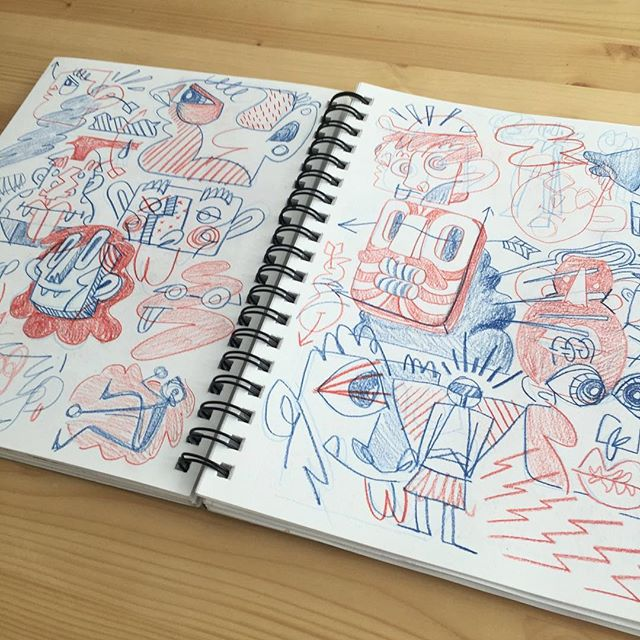 Though constantly filling them, I don't tend to post my sketchbooks a lot bc they usually look like this - utter chaos, and this one is pretty neat for me. Figures overlap, notes and drawing collide, nothing is composed or completed or perfect. Like my brain, a bit of a jumbled hot mess.