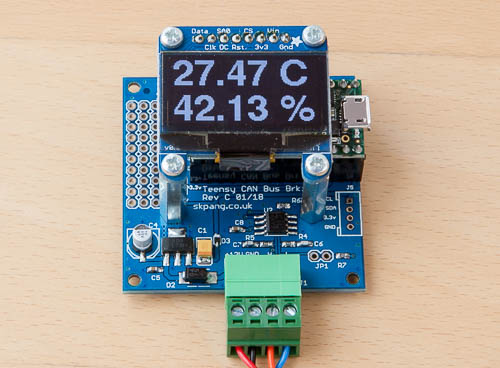 128 x 64 OLED screen connected to Teensy 3.2