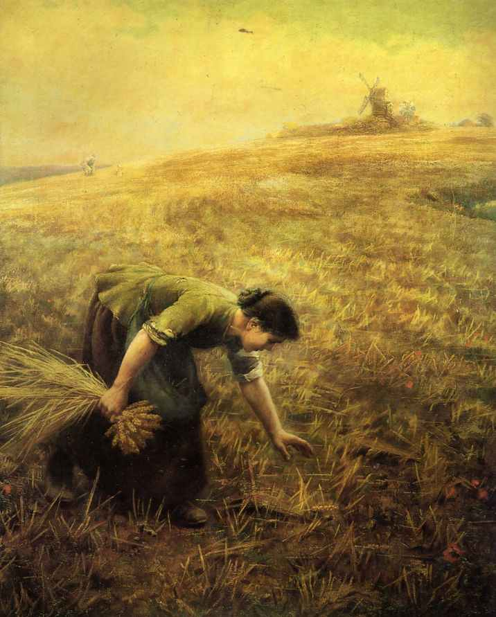 """Gleaning"" often attributed to the Pre-Raphaeite English painter Arthur Hughes (1832-1915) but art scholars now believe was painted by his son Arthur Foord Hughes or nephew, Edward Robert Hughes."