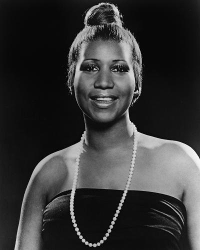 Aretha Franklin and a beautiful strand of pearls