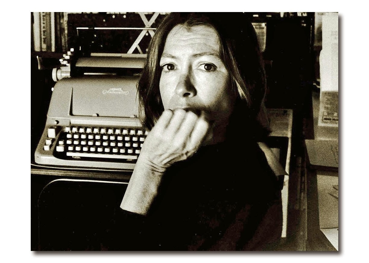 Joan Didion with typewriter--  Brentwood, 1988. Photo by Nancy Elison