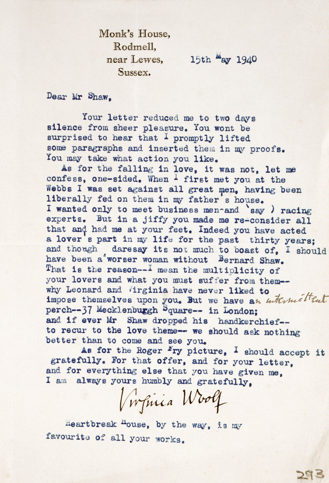 Virginia Woolf's letter to Shaw