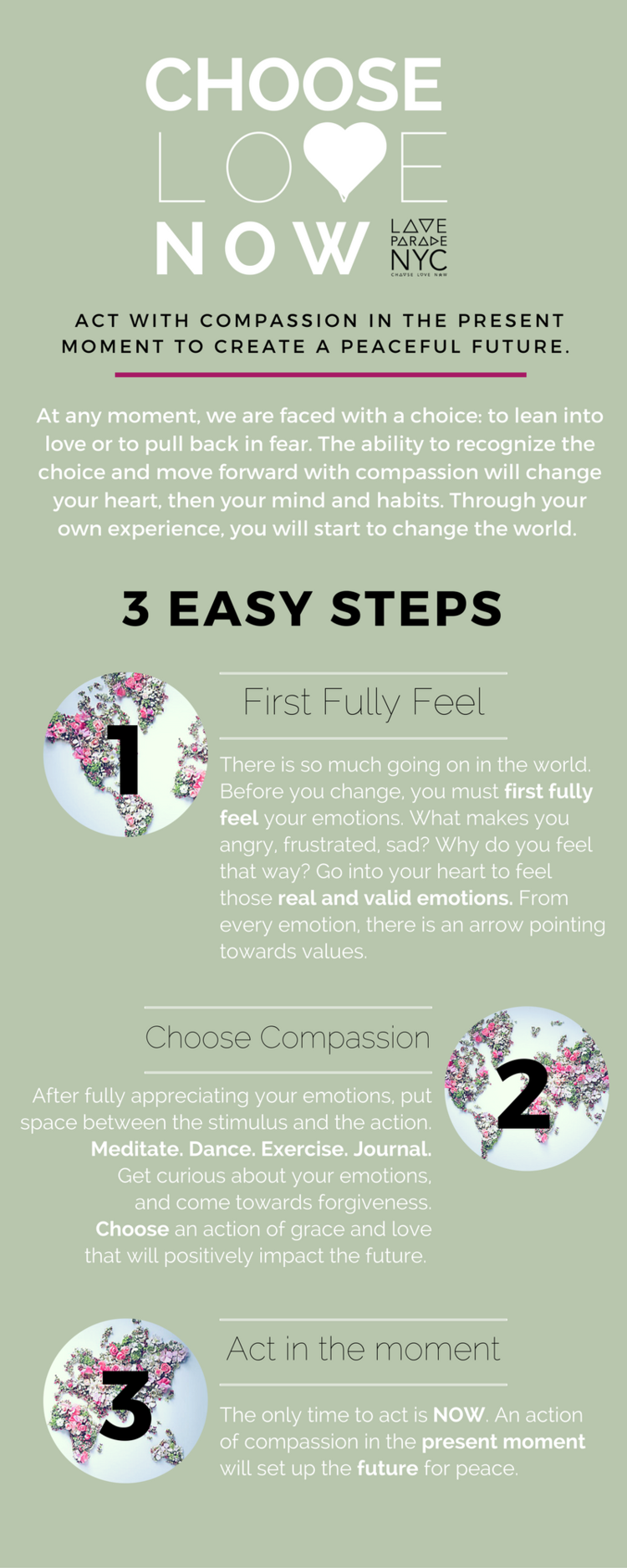Choose Love Now mindfulness tecnique infographic