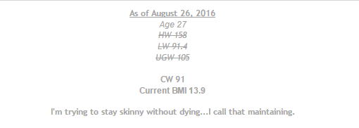 HW = Highest weight; LW = lowest weight; UGW = Ultimate goal weight This user may be a source of inspiration for many, as he/she has been able to achieve all of his/her goals (as seen by the– setting the BMI to a dangerously low level