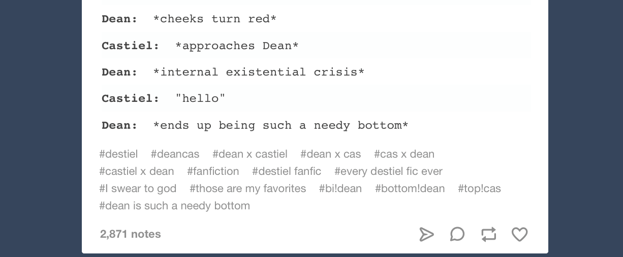 """Figure 2: A Tumblr post showing the tags added to a post by a user, including both identifier tags (""""destiel"""" and """"deancas"""" showing the pairing of the  Supernatural  characters Dean and Castiel) and personal tags."""