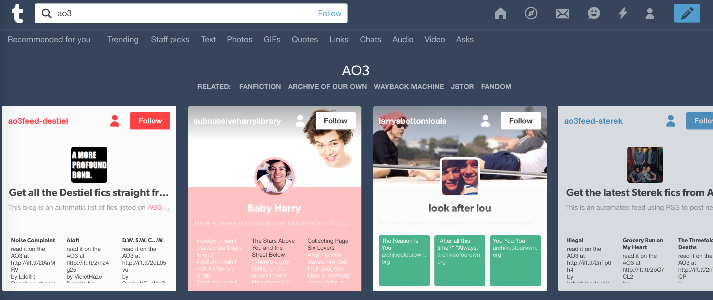 """Figure 3: The Tumblr search page (using the term """"AO3"""", or  Archiveofourown ) showing the top four recommended blogs for the term are dedicated to specific pairings - both fictional and real life."""