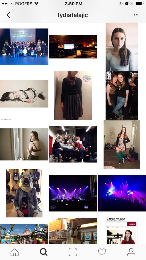 Figure 7 & 8: Sample of Lydia Talajic's Instagram account