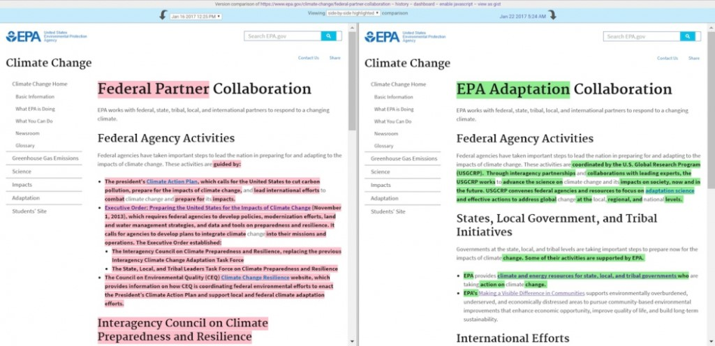 Figure        SEQ Figure \* ARABIC     1      : EPA Jan 19th vs Jan 22 2017.  Source:  http://grist.org/article/welcome-to-the-new-epa-website-overhauled-by-trumps-team/