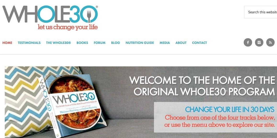 Figure 1: The Whole30 website homepage.