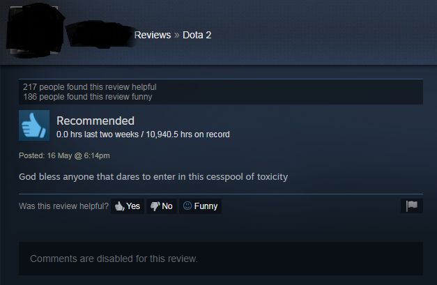 FIGURE 4. A review of DotA 2 on Steam. Retrieved from https://steamcommunity.com/id/missgrrecia/recommended/570/