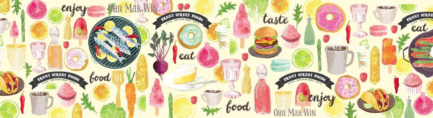 Ohn Mar's illustrations for Front Street Foods banner