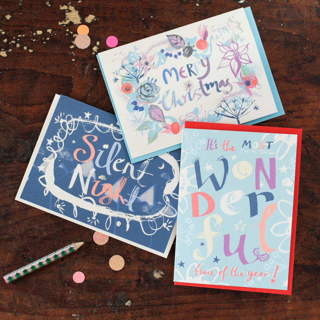 Pack of six calligraphic Christmas cards £12.50 by Gabriella Buckingham