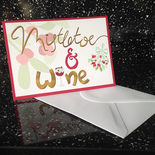 Mistletoe &Wine Card, £2 by ThePatternParade