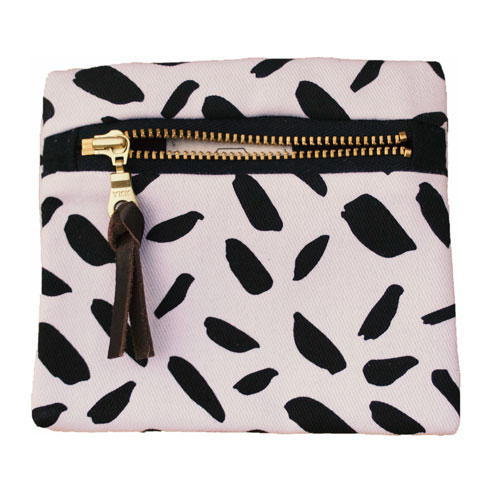Pocket Pouch Black Brushstrokes on white £15 by Mellybee
