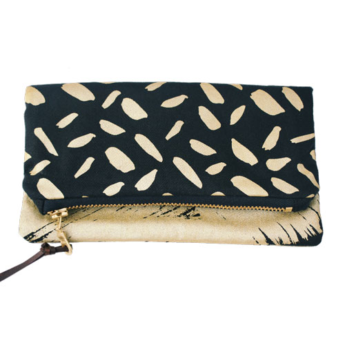 Foldover Clutch Gold Brushstrokes on Black £25 by Mellybee