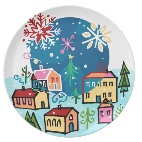 Christmas Village Plate £19.55 by Leticia Plate