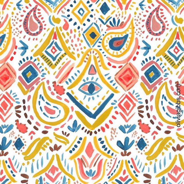 The pattern envy is real! This is beyond brilliant from Classmate @oliviagibbsillustration: ・・・ Trying and painting new things. This is inspired by this week's @risedesignandshine Folio Focus Boho  brief. . . . #art #bohostyle #surfacedesign #surfacepatterndesign #printandpattern #artlicensing #jerrysartarama #gouache #turnergouache #acrylgouache #holbeinacrylagouache #foliofocus2019 #fabricdesign