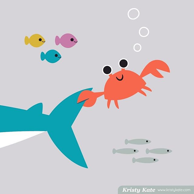 "This is just too cute!  #Repost @kristy.kate ・・・ Hold tight! This little crab has clamped onto something big! What could it be??⠀ ⠀ - - -⠀ Illustration created for @risedesignandshine Folio Focus Kids assignment theme ""Sea Life Friends."" ⠀ ⠀ #kristykate #foliofocus2019 #risedesignandshine #artlicensing #kidstrends #surfacedesign #sealife #cutecrab #crabby #underthesea #kidsdesign #kidsillustration #melbourneillustrator #melbournedesigner"