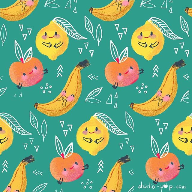 We've all been getting fruity 🍌🍎🍋! Classmate Art by  @_charlie_pop_ ・・・ Week 3 of #foliofocus2019 with @risedesignandshine , a vitamin ic one !  #foliofocus #fastfruit #charliepoppatterns #kidswearing #kidswear #fruitcharacter #kawaii #kawaiifruit