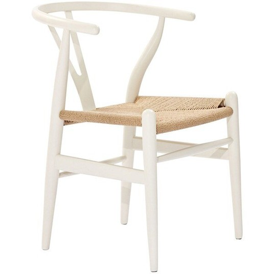 Poly and Bark Weave Chair in White $45