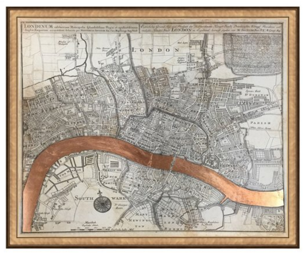 One Kings Lane: Real Rose Gold Leaf Map of London