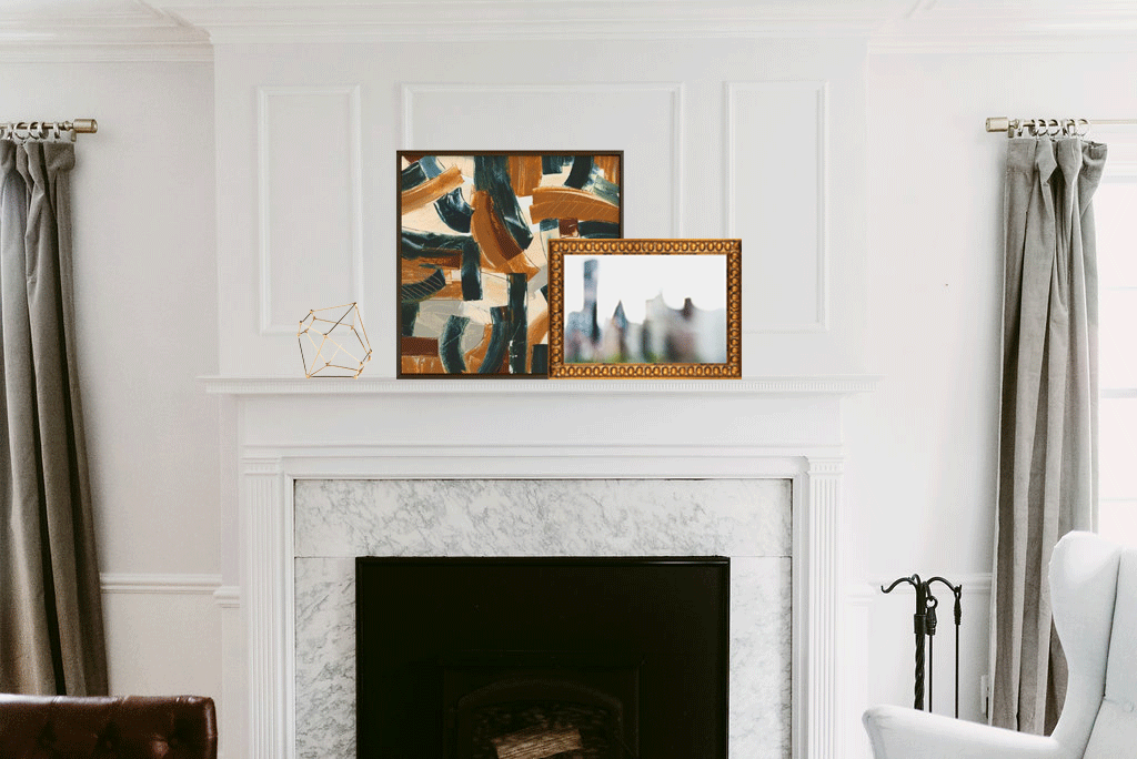So, I selected these two images as their warm golds and greens and burgundy tie back other to existing elements within the space. Also, I like the juxtaposition of the contemporary blurred city imagery contained in a fussy gold frame while the abstract print is contained in a clean-lined frame. Urban and architectural imagery delights both my husband (an architect) and myself. He is less into the abstract image, though. The gold decorative element found  here . The abstract print found  here   and the blurred photo found  here .