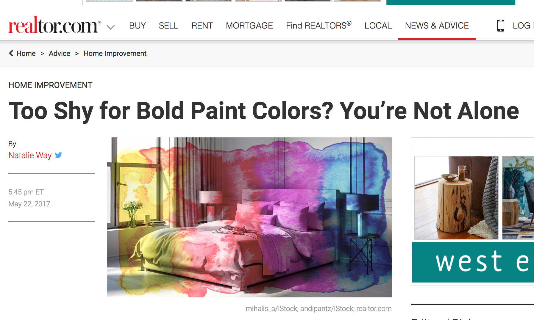 REALTOR.COM :  Danielle is a go-to Interior Design expert regularly interviewed on design trends. In this case, on the use of bold colors!