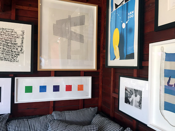 Art in the barn at Sparrows:   Ed Ruscha, John Baldessari, Alfred Eisenstaedt, and Ellsworth Kelly in one corner!