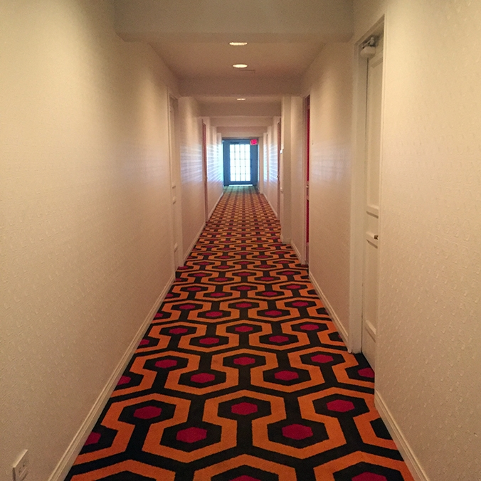 "Hallways recreated from ""The Shining."" The doors are painted red."
