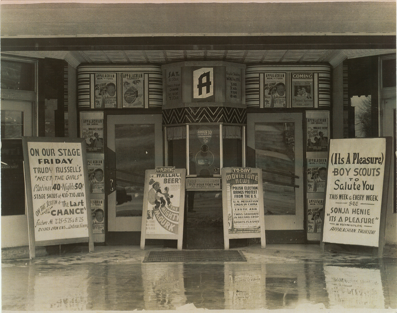 Appalachian Theatre entrance and ticket booth, ca. 1948
