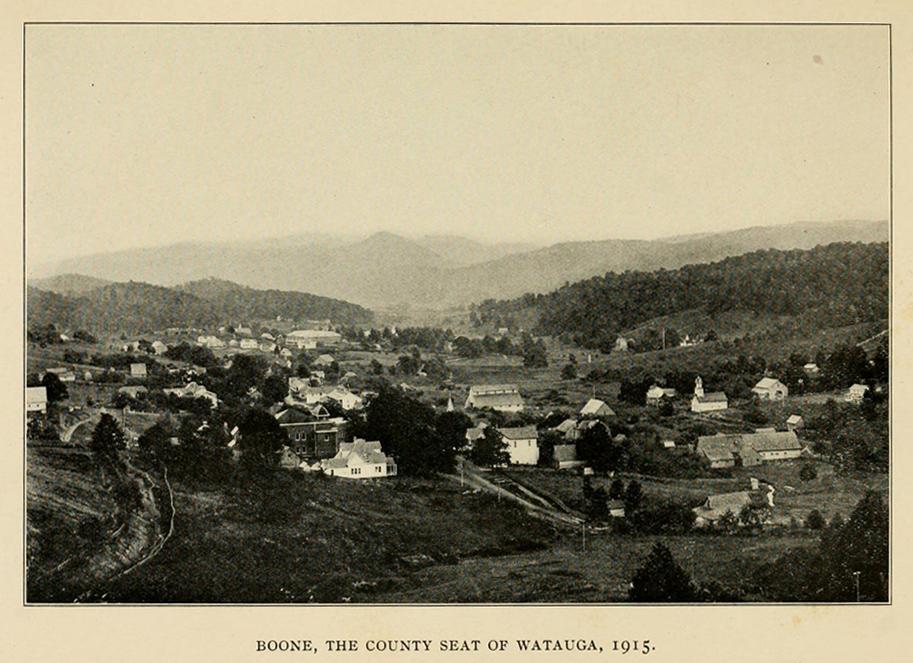 Boone from the Northwest, ca. 1915, from John Preston Arthur's  History of Watauga County  (1915)