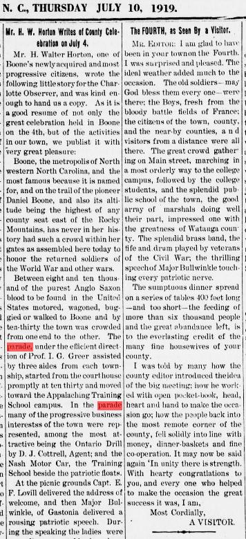 Description of the July 4, 1919, parade from the July 10, 1919,  Watauga Democrat