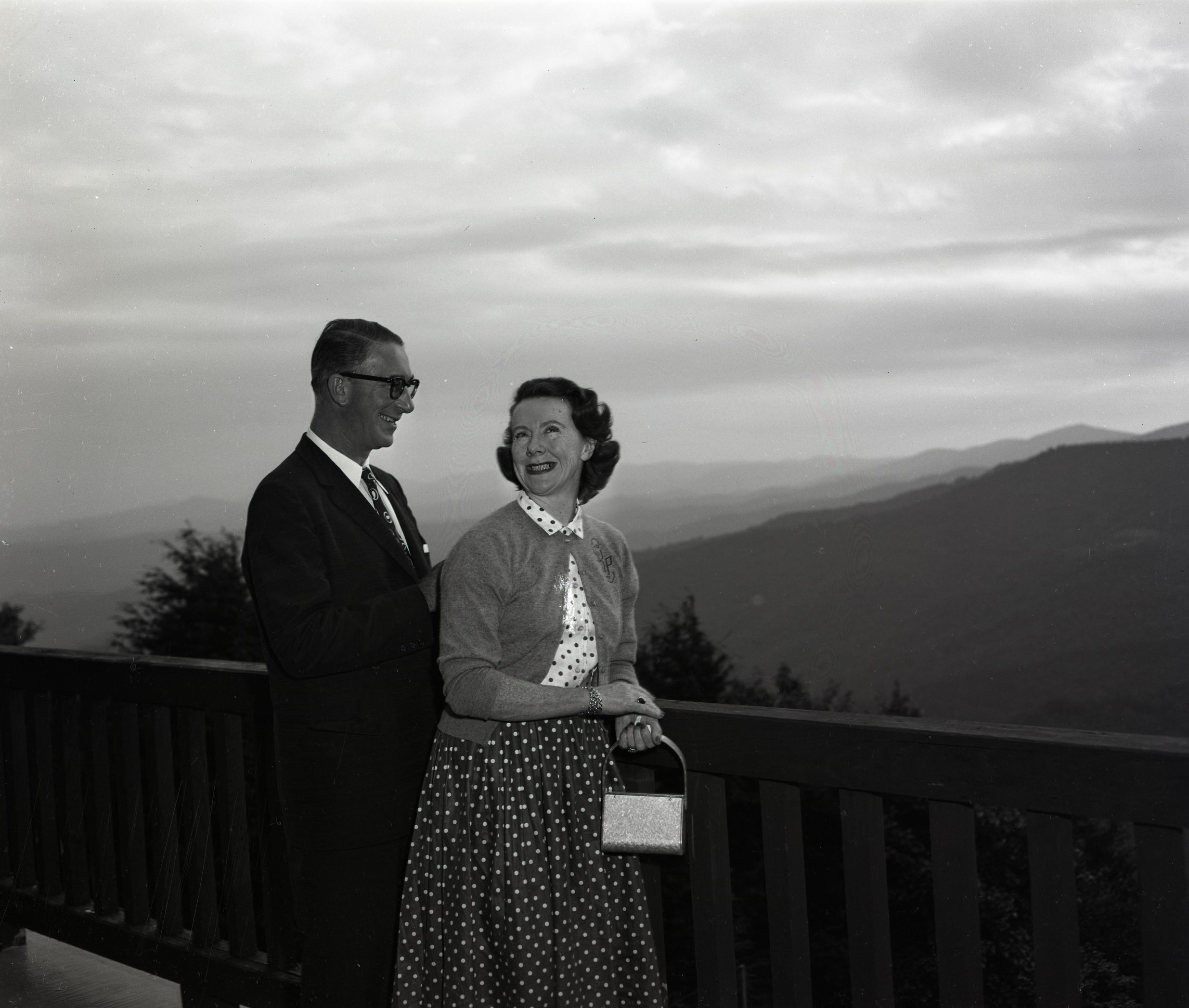 Senator Estes Kefauver (D-TN) and his wife Nancy vacation at Mayview Manor in Blowing Rock, NC, in August 1956. This image was shot by Palmer Blair and appears in the forthcoming Palmer Blair Collection of the Digital Watauga Project, which will be available online beginning next week.