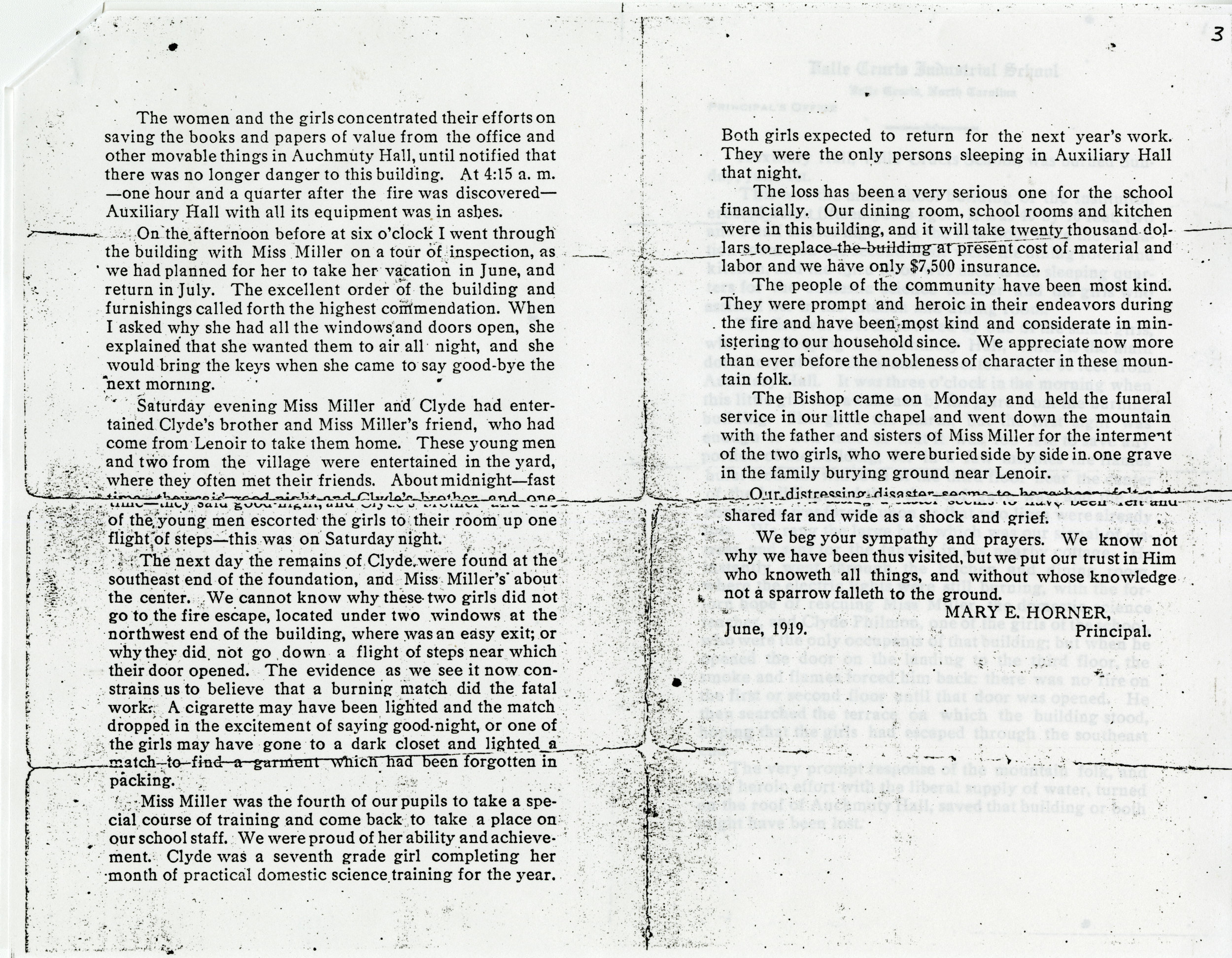 Remainder of typescript of statement by Mary E. Horner, principal of the Valle Crucis Industrial School, describing details of the fire that destroyed Auxiliary Hall. Image from the Valle Crucis Conference Center Collection (Val-Cru-2-011b).